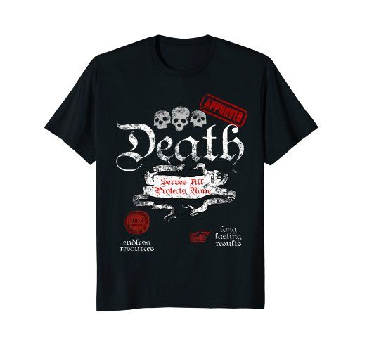 Death Serves All Protects None #Sarcastic #funny #Rock #Shirt by Scar Design. Click and #shop this #cool #shirt on my #amazon store! #Great gift for Every rebel, biker, rocker and badass attitude men, women and children. #rock #skull #musician #rebel #biker #tees #tshirt #tees #clothing #39 #apparel #wings #badass #apparel #gifts #woman #men #death #rockstyle #style #fashion #tshirts #bikerclub