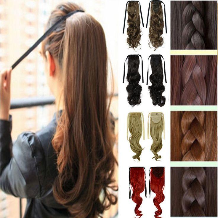 2016 Nieuwe Kleurrijke Krullend Golvend Clip In op Paardenstaart Paardenstaart Rood Haarverlenging Stuk Golvend Stijl Wrap Haar Stuk