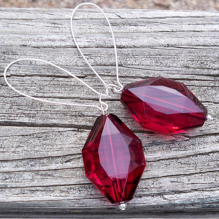 Ruby - Large Faceted Ruby Red Diamond Shaped Beaded Silver Kidney Hoop ...