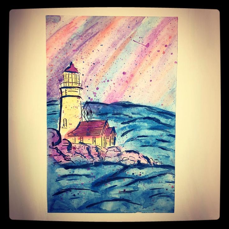 "9 Likes, 1 Comments - KD Quinn (@kd_quinn) on Instagram: """"Lighthouse for Aunt Viv"", 2017, Watercolor on thick paper 7 1/2 x 11"". A Christmas gift for my…"""