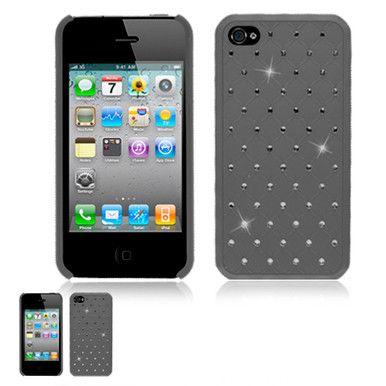 IPhone 4 4S Black Studded Diamond Rhinestone Bling Back Cover Snap On Case