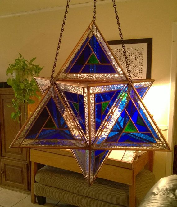 Stained Glass Star Tetrahedron - Merkaba. Blue triangle - sky, surrounding small green center triangle - Earth, clear glass - God or Source....