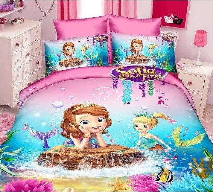 Princess Sophia the First Mermaid Cartoon Pink and Purple Duvet Cover Sets