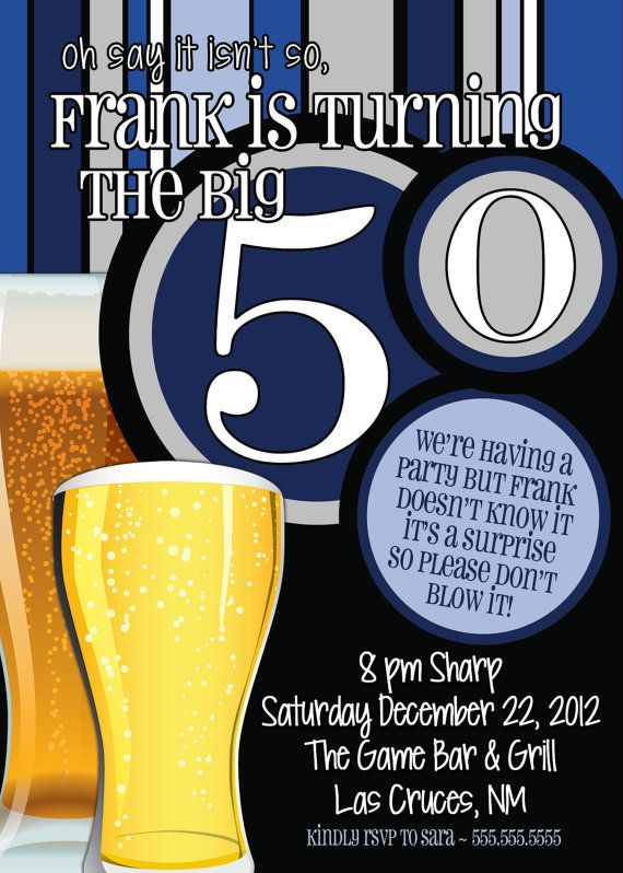 50th Birthday Surprise Party InvitationsBeer Men By TheFunkyOlive 1800