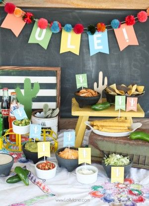 FREE Printable Labels + Banner for nacho/taco salad bar... perfect for teacher appreciation lunch