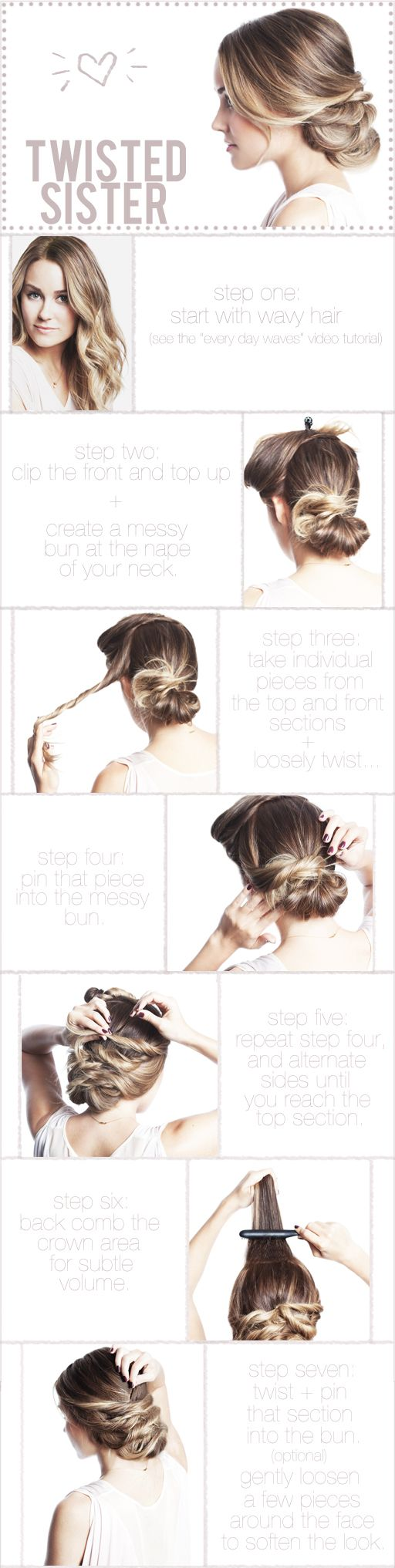 Hair Ideas, Wedding Hair, Hair Tutorials, Long Hair, Messy Buns, Twists Sisters, Hair Style, Lauren Conrad, Updo