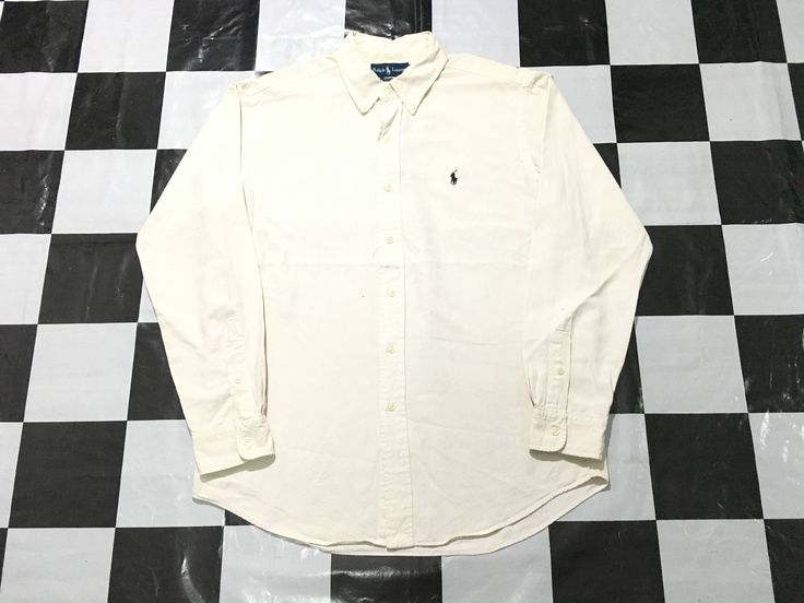 Vintage Ralph Lauren button down shirt long sleeve small pony Size L Polo ralph lauren by AlivevintageShop on Etsy
