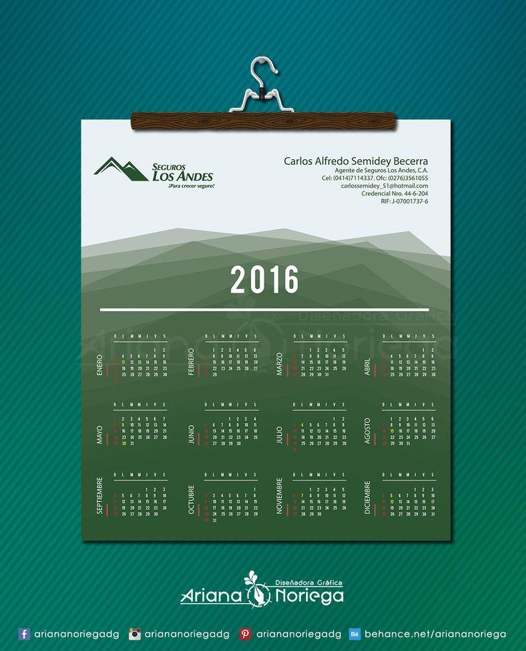 Arte Final: Calendario 2016 para Carlos Semidey, Asesor de Seguros.