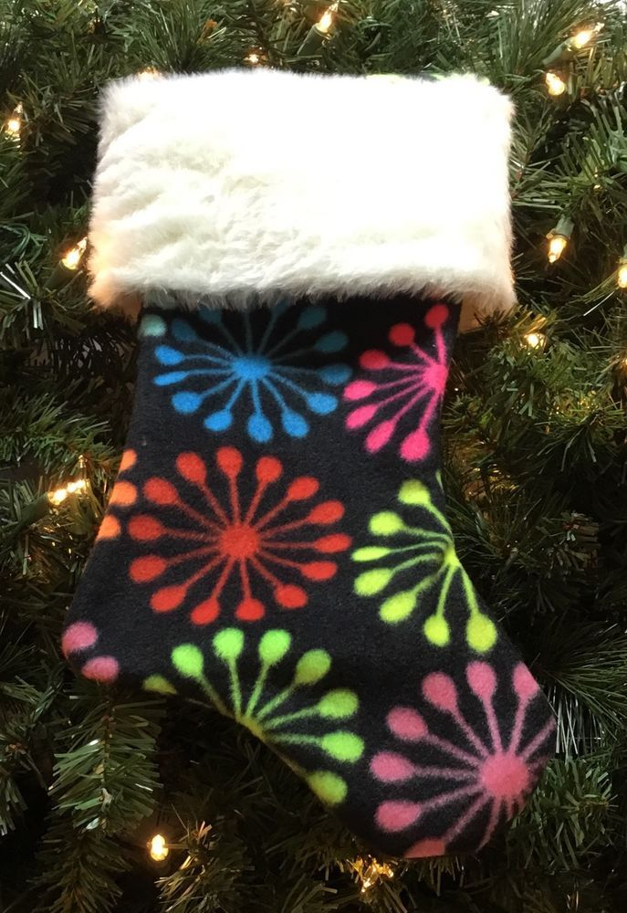 "Handmade Christmas Stocking 15"" Fleece Neon Symbols /Each Unique Due To Pattern  