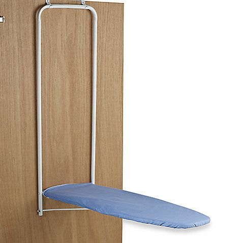 Over-the-door ironing board can be easily hung over any standard door to make ironing chores a cinch. Folds up and down instantly and locks when in upright position.