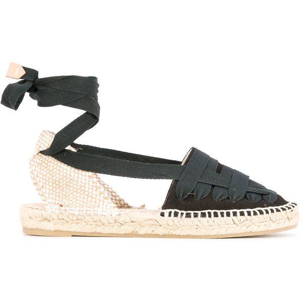 Castañer lace-up espadrilles ($94) ❤ liked on Polyvore featuring shoes, sandals, blue, black lace up sandals, espadrille sandals, lace up espadrilles, black espadrilles and black sandals