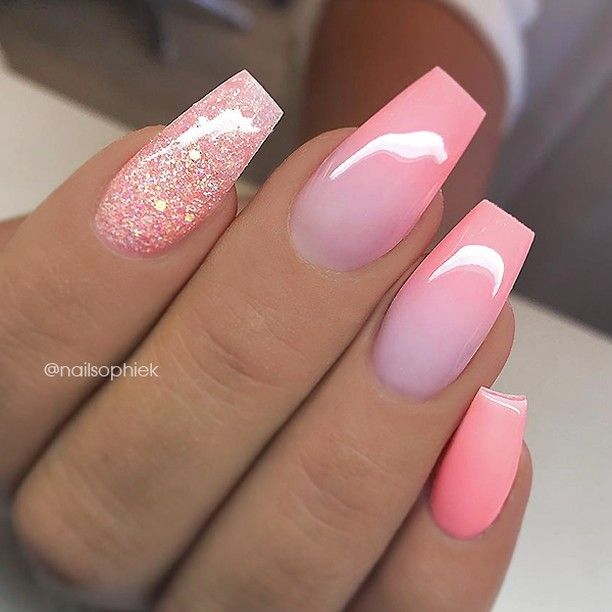 Repost Salmon Pink Ombre Effect And Glitter On Coffin Nails Picture And Nail Design By Nailsop Short Acrylic Nails Nail Designs Pink Nails