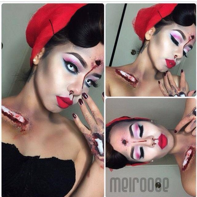Zombie grunge and glam from @melroose  Such a creepy and cool twist on a pin up doll! Shop www.morphebrushes.com today, she used the 35B palette to get the look. #morphehalloween
