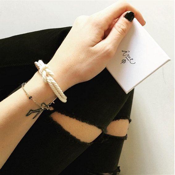 Pulsera pulsera Marina nudo náutico pulsera blanco pulsera de