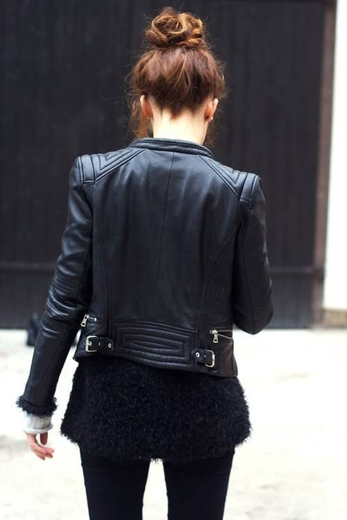 leather jacket + top knot