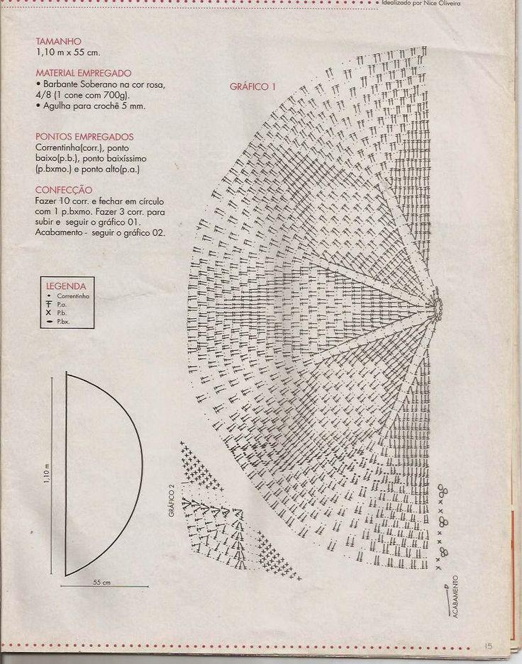 tapetes de croche meia lua com grafico - Pesquisa Google