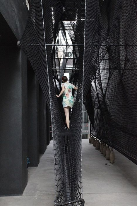 """Numen/For Use combines """"height and wobbliness"""" in net staircase for Linz gallery"""