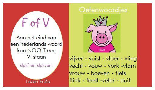 #hulpkaartje spelling F / V