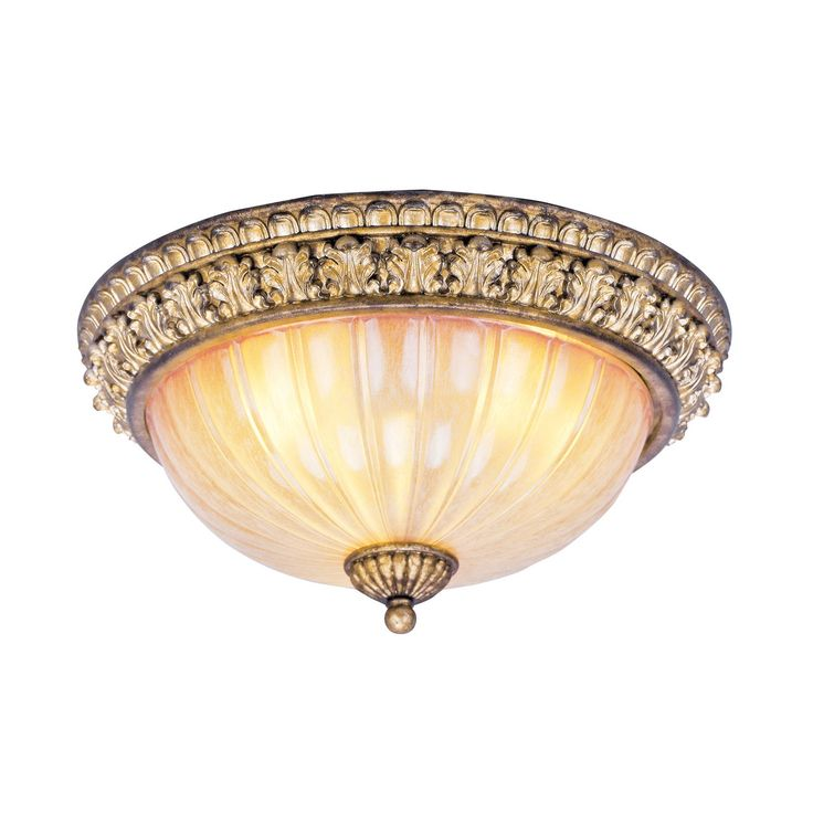 Livex Lighting 8819-65 3 Light La Bella Flush Mount Ceiling Light, Vintage Gold Leaf - Lighting Universe- butler's pantry