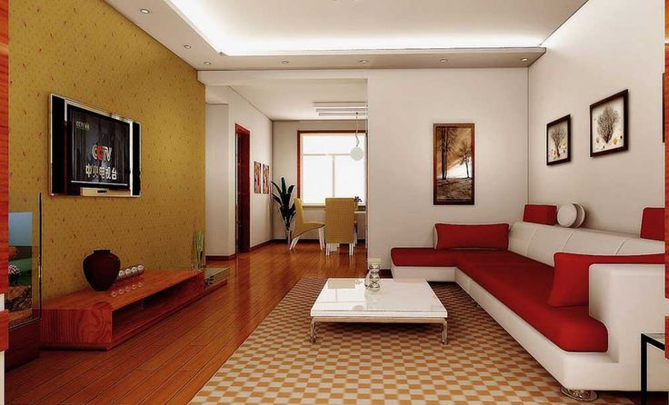 Rectangular Living Room Design Ideas with wooden floor and white wall also white red sofa