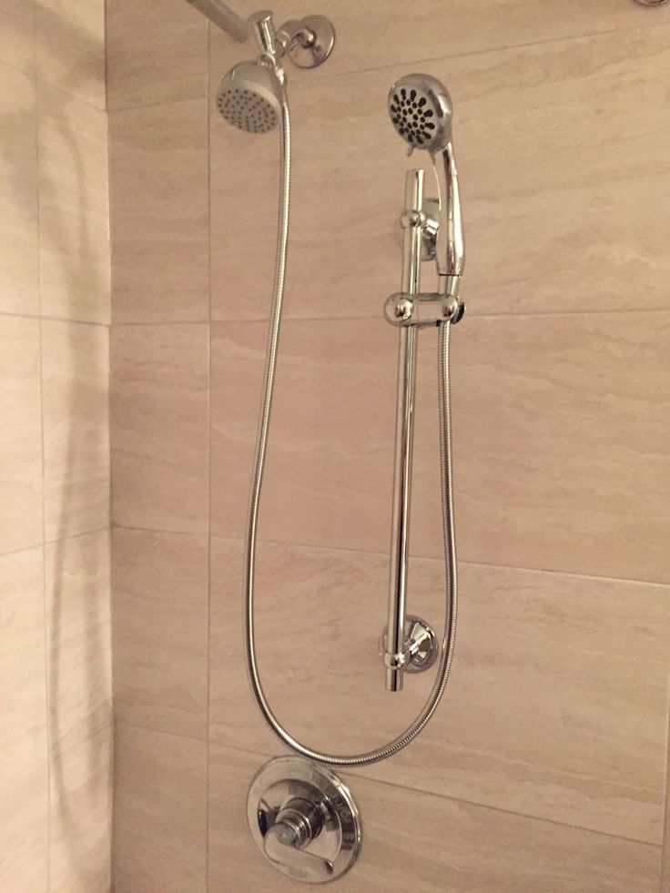 Regular Shower Head And Hand Held Shower Head On Slide Bar