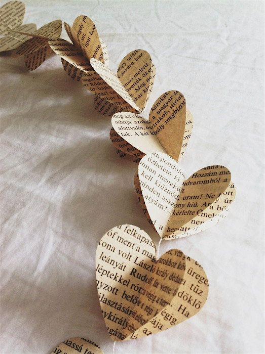 Paper Mobile Heart String made from vintage Hungarian book