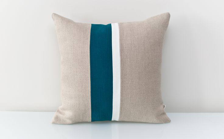 Blue Pillow in 100% Linen. An ALL NATURAL Colorblock pillow using environmentally friendly fabrics. Add a spark to a muted room with this teal accent combined with white and gray to make it pop. FREE customizaion available