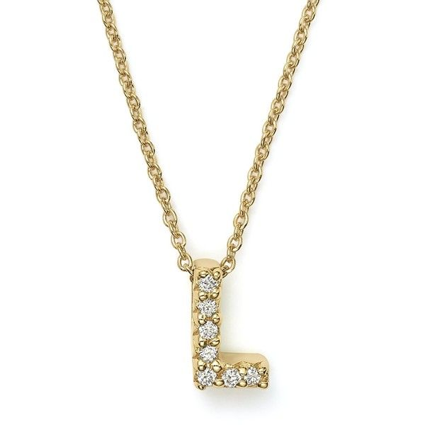 Roberto Coin 18K Yellow Gold and Diamond Initial Love Letter Pendant... ($625) ❤ liked on Polyvore featuring jewelry, necklaces, gold diamond necklace, diamond necklace, yellow gold diamond necklace, gold initial necklace and diamond initial necklace