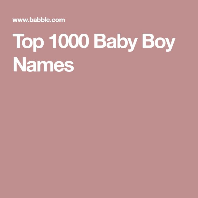 Top 1000 Baby Boy Names
