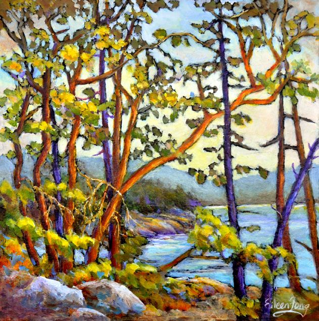 Arbutus Trees by the Shore 5 by Eileen Fong