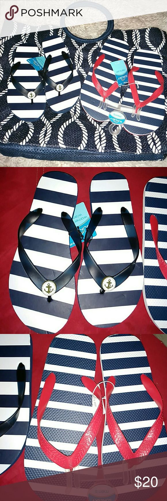 "NWT His n Hers  ""Nautical""  Bundle / W5-6,  M7-8 New Flippies for his and her.  Perfect for a day at the beach! Women's are size 5/6 and men's are size 7/8. If you need different sizes ease inquire as I just may have the size you're looking for! Also a nautical themed tote or beach bag.  Navy blue with white rope pattern and feature two large round handles.  This tote is new without tags. Also special themed gift included with this bundle! Nautical Theme Bundle Shoes Sandals"
