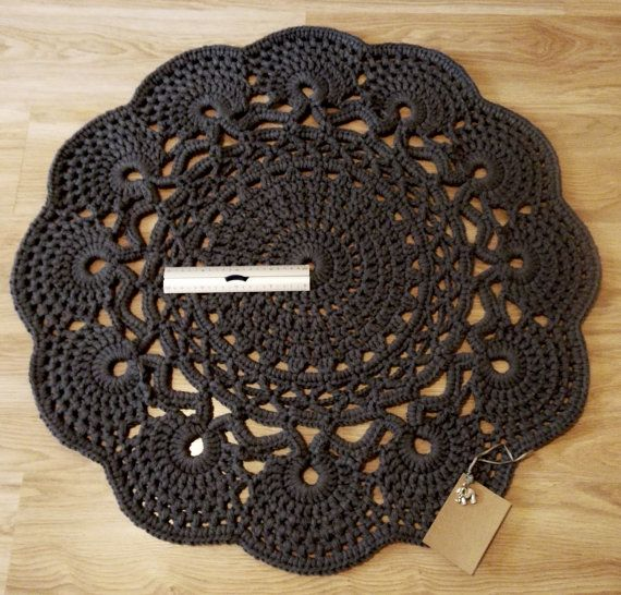 Grey Merino Wool Acrylic Crochet Rug in Large Circle Lacy Pattern. Beautiful Rug, soft and sturdy. Taken from a beautiful vintage pattern it was