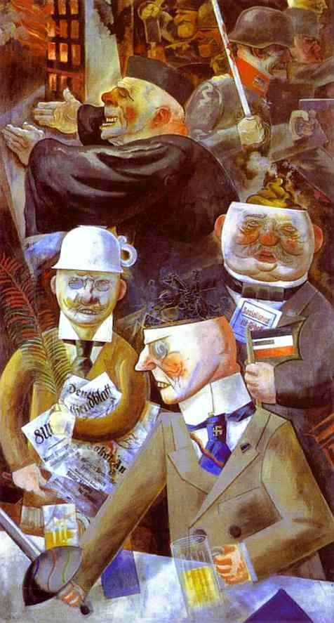 """The Pillars of Society"" (1926), by George Grosz. Nationalgalerie, Berlin. Dada art movement (Co-founder of Dada in Berlin). The representatives of the (German, 20s) ruling class - press publishers, nationalists, monarchists and clerics - depicted as a class of brainless and amoral people."