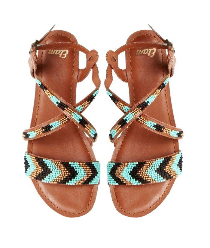 Sandales perlées - PAPRIKA - CAMEL/TURQUOISE/NOIR - Etam