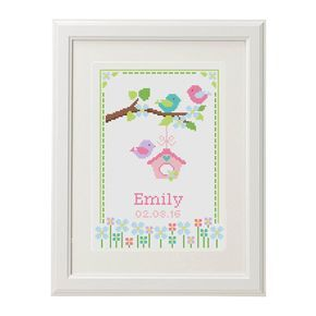 Baby Cross Stitch pattern baby announcement Bird Flower Animal Romantic Modern Customize Cross Stitch Birth Record chevron new baby girl by AnimalsCrossStitch on Etsy https://www.etsy.com/uk/listing/387447754/baby-cross-stitch-pattern-baby