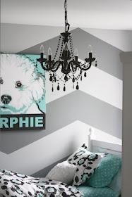 Grey and White Chevron walls, black, white, turquoise