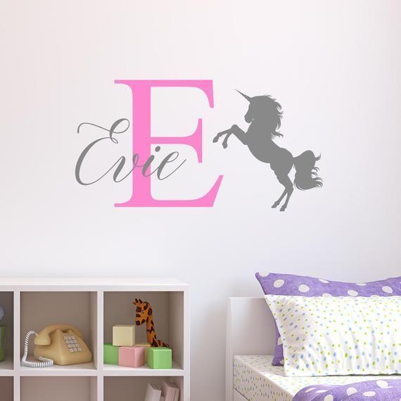 playroom inspired wall decal Wall sticker Unicorn Name nursery