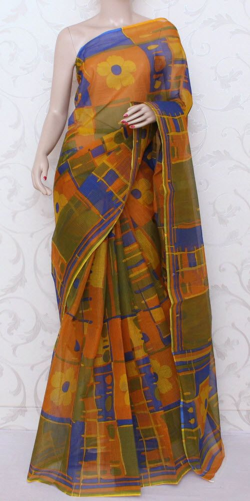 JP Kota Doria Printed Cotton Saree 12578