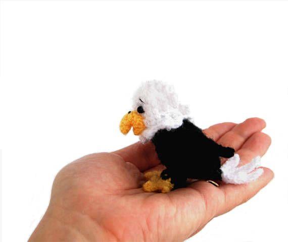 $33.54 crochet BALD EAGLE, white headed eagle doll, sea #eagle amigurumi, tiny eagle as #USA #national bird, flag eagle, gift for 4th of July, handmade bird gift