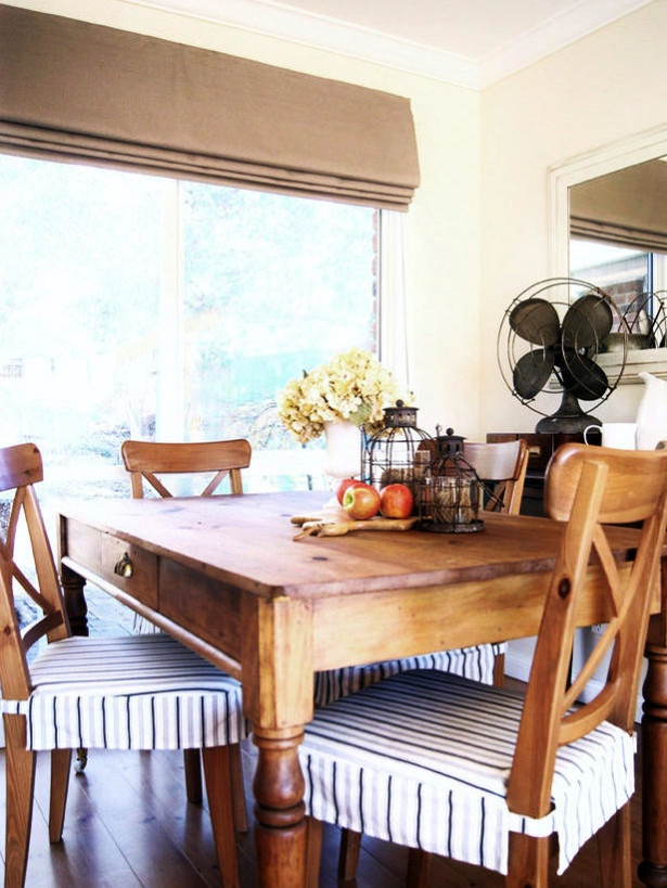 Kitchen Seat Cushions With Clean Lines Neutral Tones Dining Room