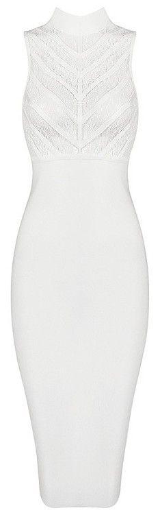 Lace Insert Sleeveless Midi Bandage Dress - White