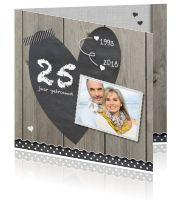25 jaar getrouwd uitnodiging groot krijt hart en hout