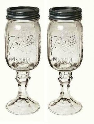 Mason jars on stem for 7 of the tables with baby 39 s breath baby food jar craft ideas - Stemmed mason jars ...