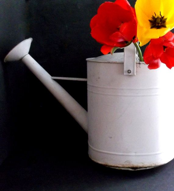 Antique Shabby Rustic Watering Can Rusty by happenstanceNwhimsy