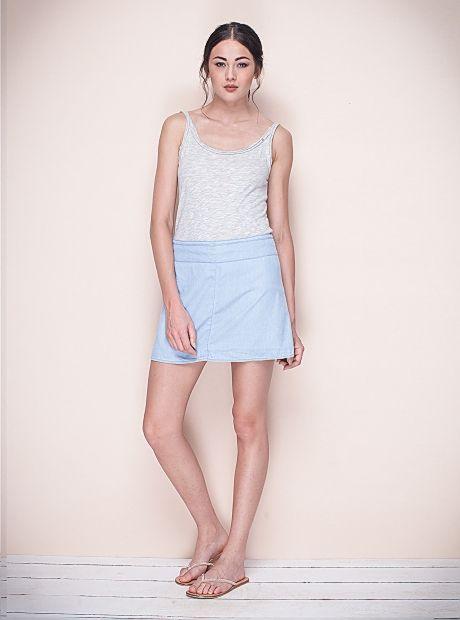 NOW ON SALE the Lina skirt $69.00 AUD / Sky Denim | #BuddhaWear  #ethical #womenswear #fashion