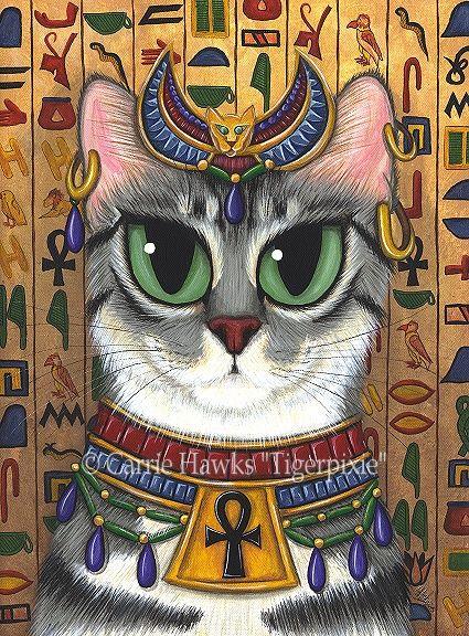 Prints - Bast Goddess-bast, bastet, egypt, egyptian, goddess, mau, cat,