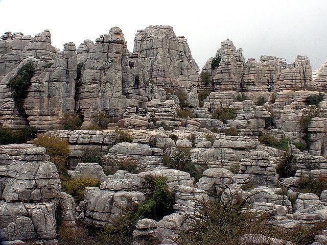 Formaciones cársticas en El Torcal de Antequera, Málaga, España