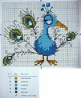 Cross-stitch Silly Peacock, part 1...   Předlohy na vyšívání - Roztomilá zvířátka | Mix