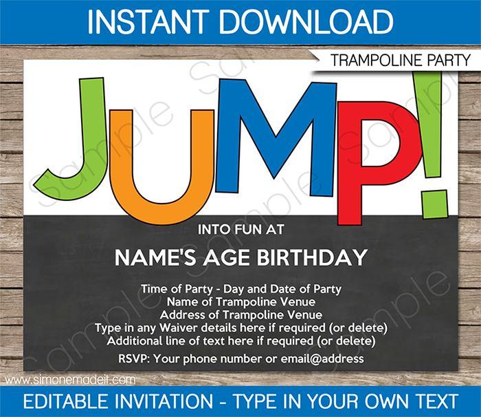 Trampoline Party Invitations Template Boys