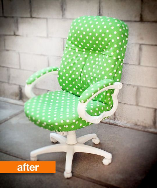 office chair make over: Diy'S Offices, Chairs Makeovers, Polka Dots, Desks Chairs, Chairs Transformers, Office Chairs, Offices Chairs, Chairs Covers, Chairs Redo